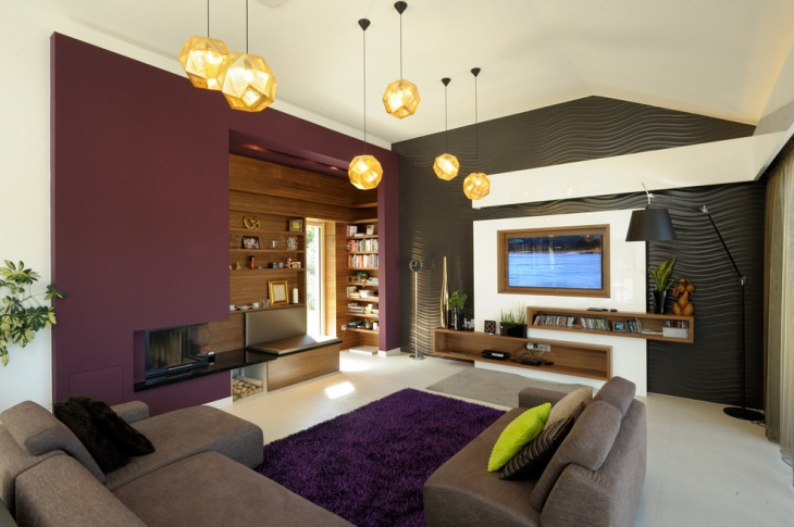 modern purple wall living room