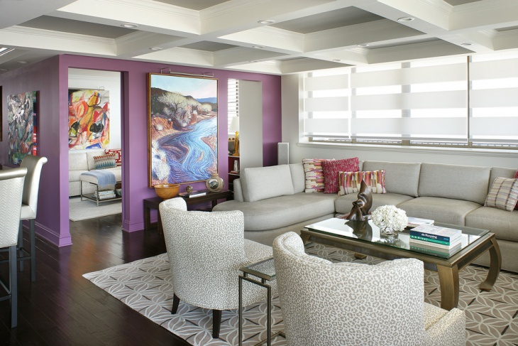 modern purple and white living room