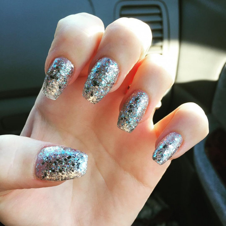 silver glitter coffin nail art