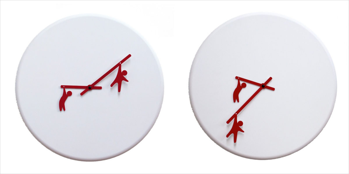 time2play white red 2055 wall clock