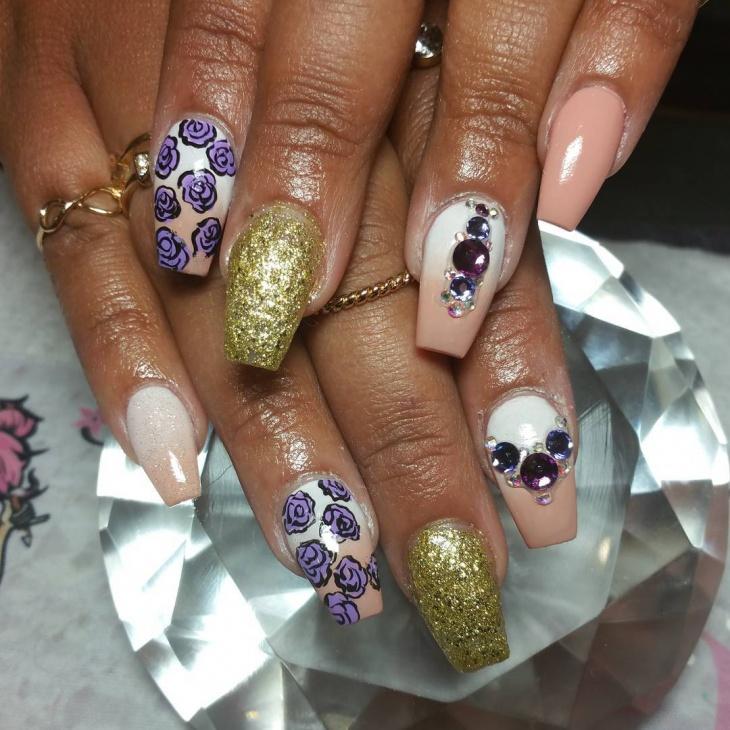 3d gold coffin nail design