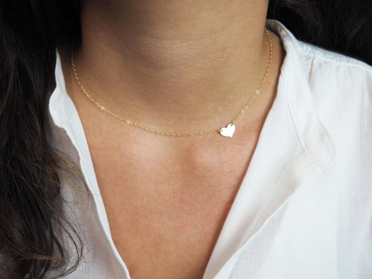 gold sideway heart necklace