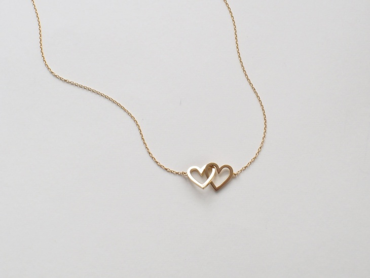 double heart link necklace