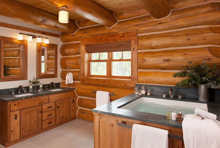 rustic wood bathroom decorating
