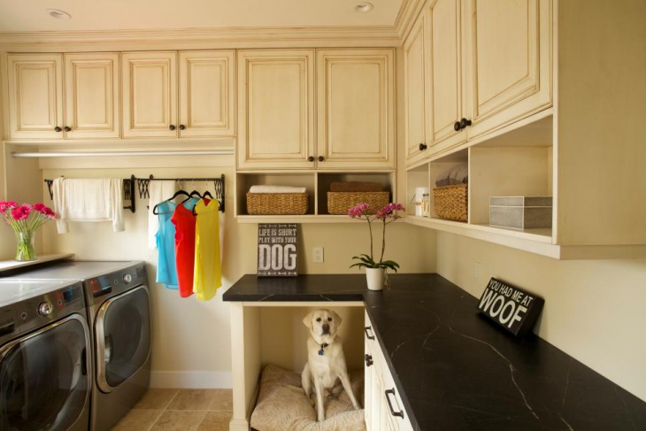 traditional white laundry room