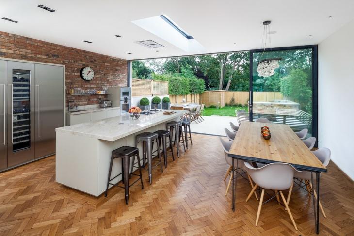 wooden chevron pattern kitchen floor
