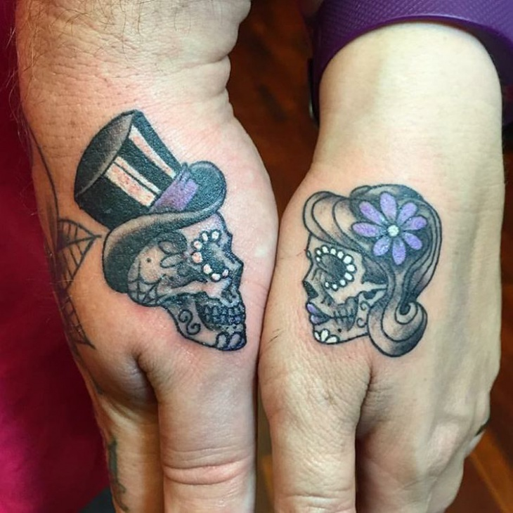 Matching Suger Skull Tattoo