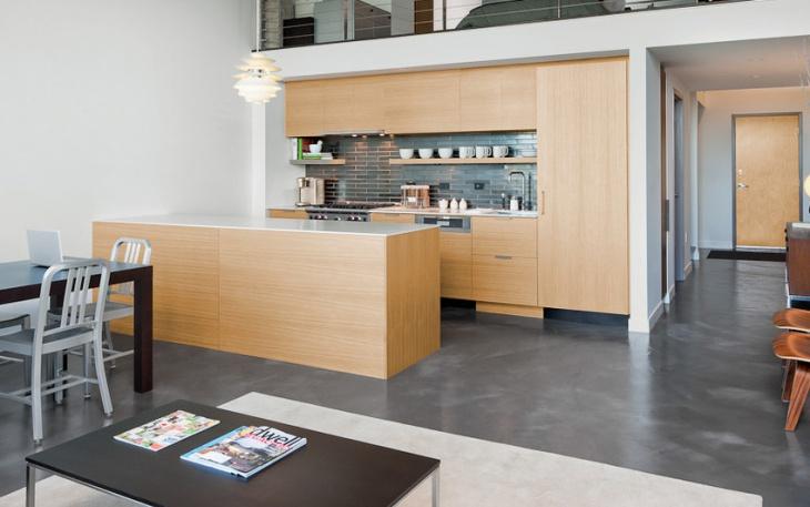 contemporary kitchen concrete floor design
