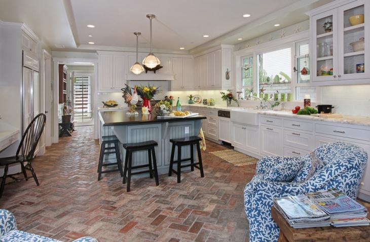 farmhouse kitchen brick flooring
