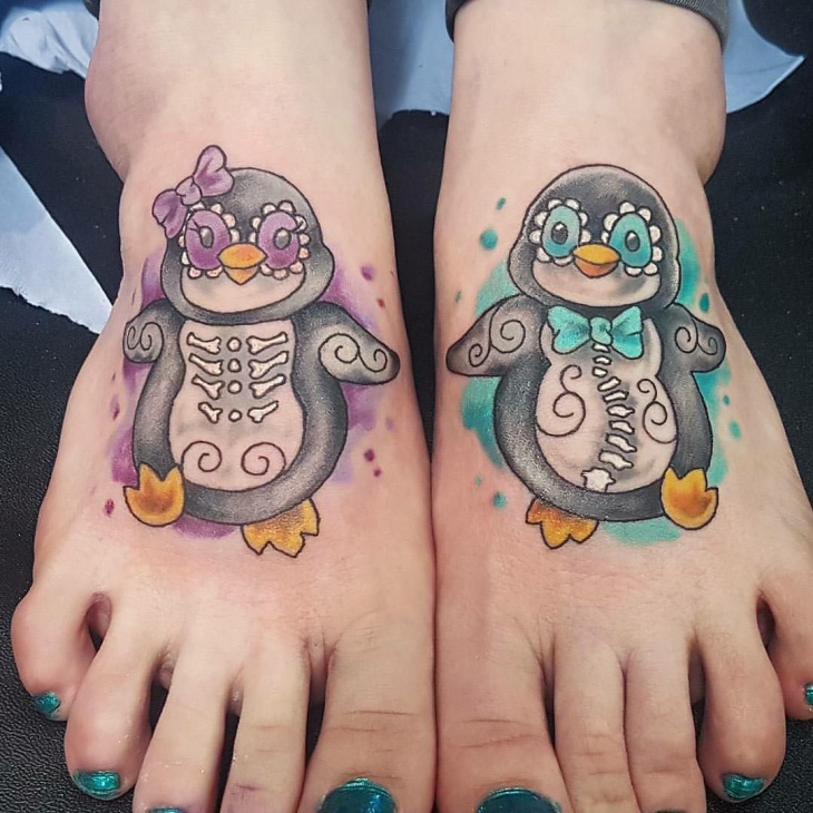 matching penguin bird tattoo