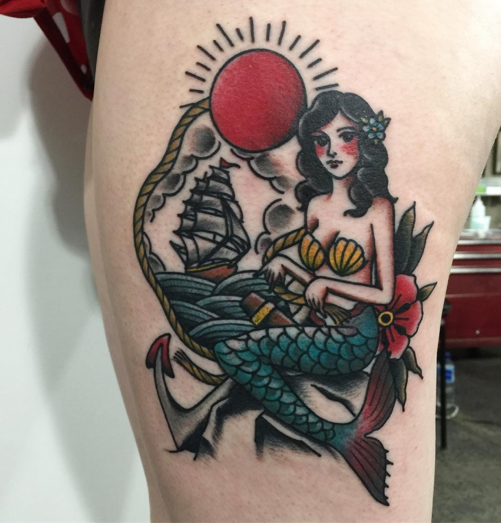 Neo Traditional Mermaid Tattoo