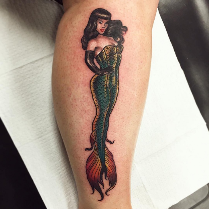 Cool Pin Up Mermaid Tattoo