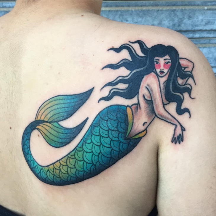 Traditional Mermaid Back Tattoo Design