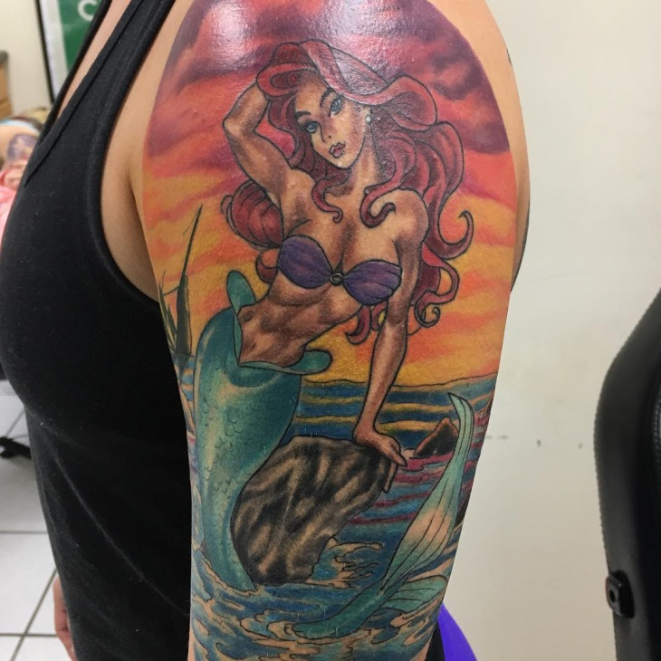 Mermaid Half Sleeve Tattoo Design