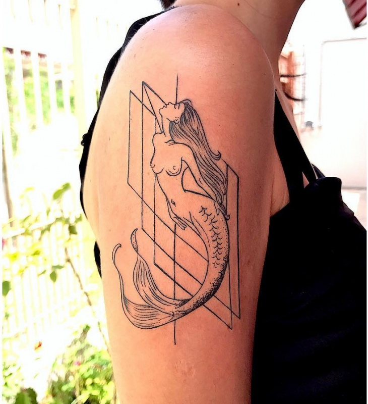 Geometric Mermaid Arm Tattoo