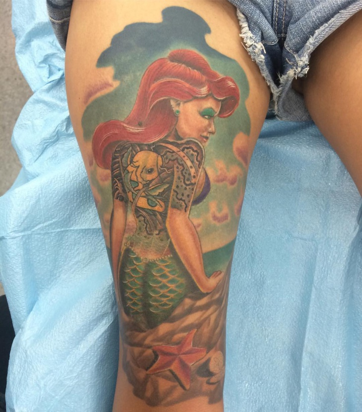 Colorful Mermaid Thigh Tattoo Design