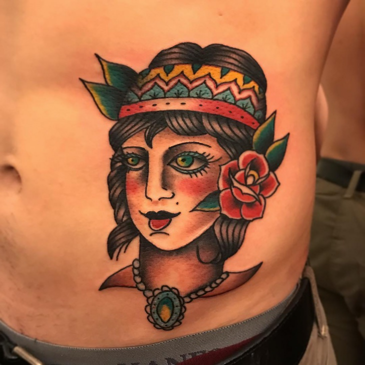 Traditional Side Stomach Tattoo