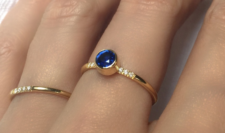 blue diamond sapphire engagement ring