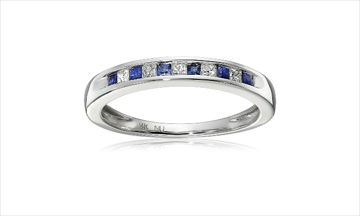 sapphire princess cut diamond engagement ring