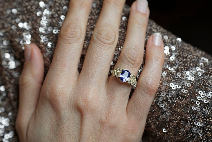 oval sapphire engagement petal ring