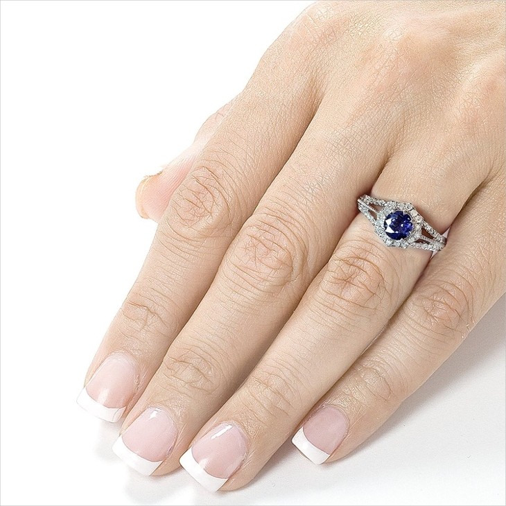 white gold vintage sapphire engagement ring
