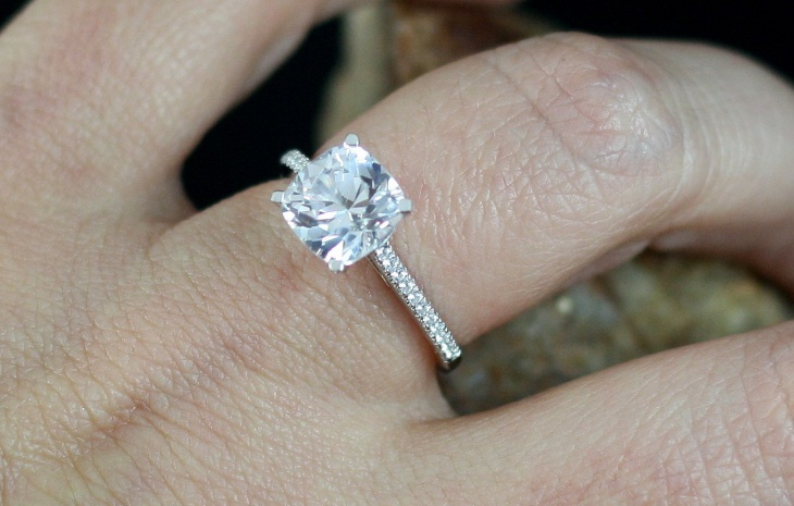 white sapphire engagement solitaire ring