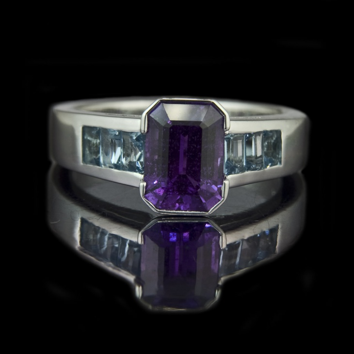 emerald cut purple sapphire engagement ring