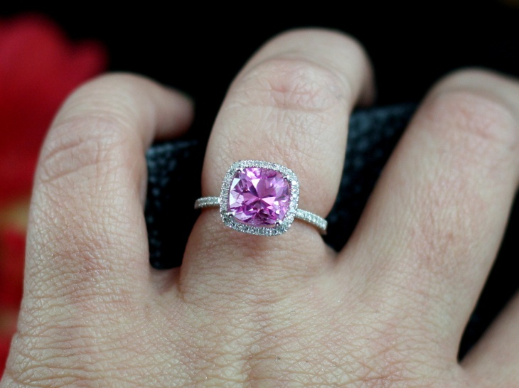 pink halo sapphire engagement ring