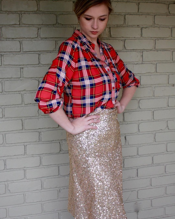 vintage gold sequin skirt