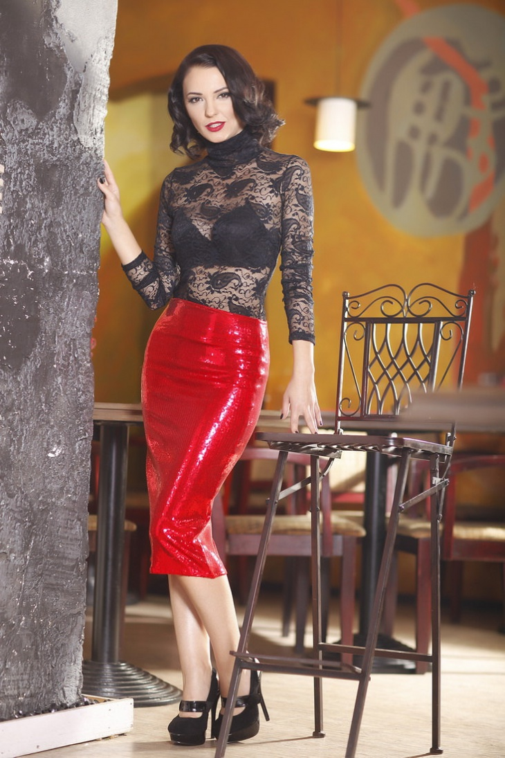 sequin pencil red skirt