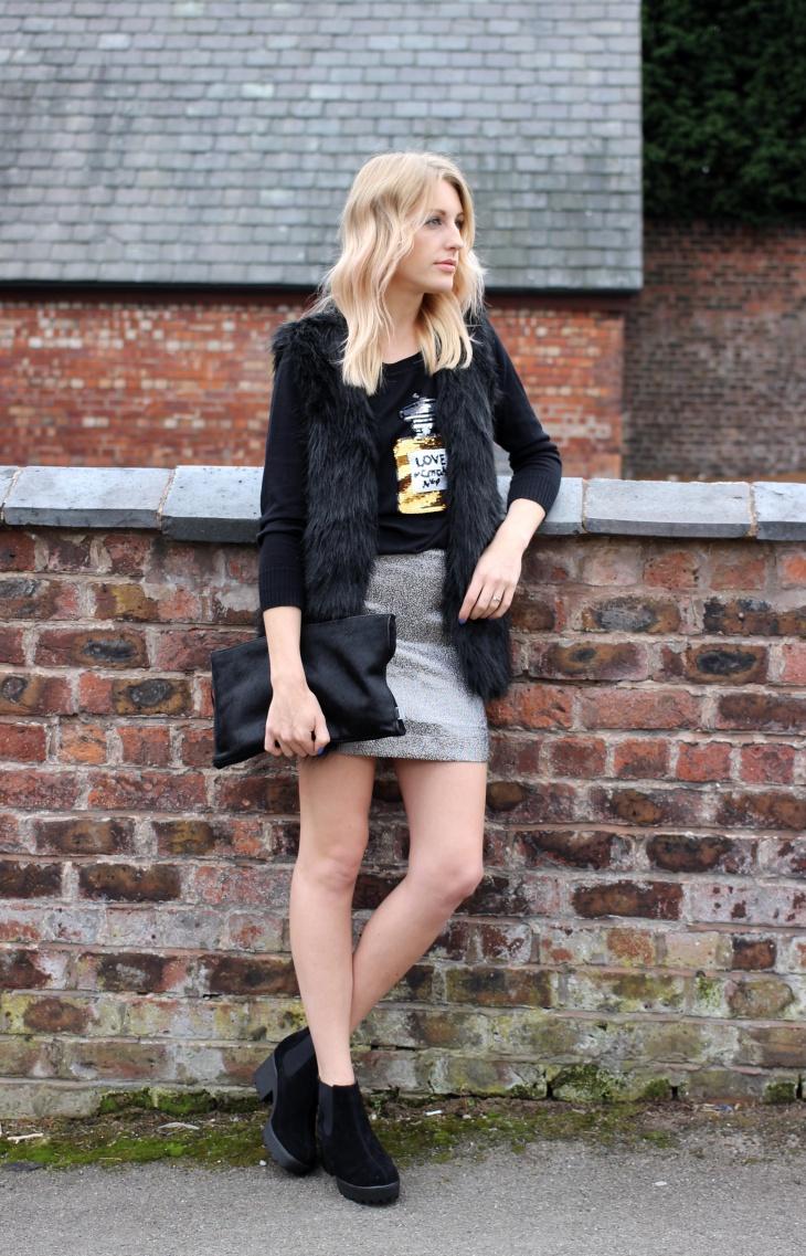silver sequin short skirt