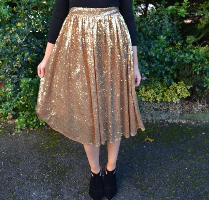 gold sequin midi skirt