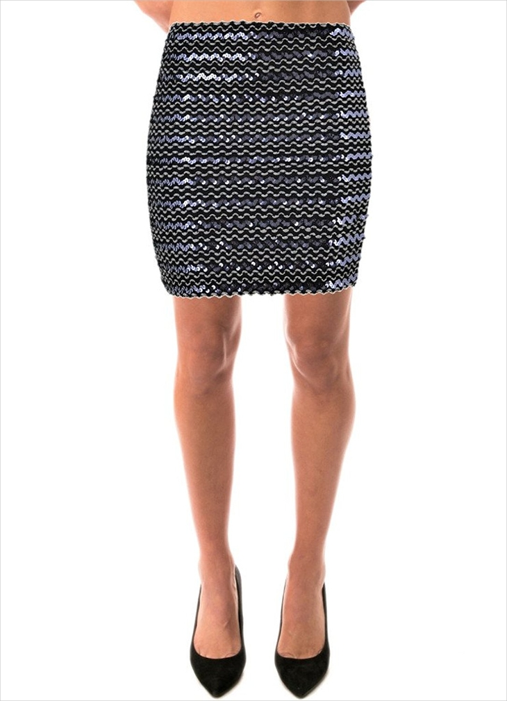 black sequin bodycon skirt