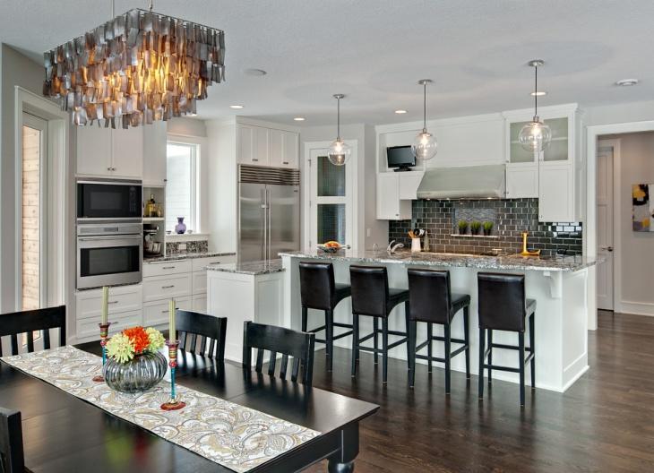 kitchen round glass pendant lighting