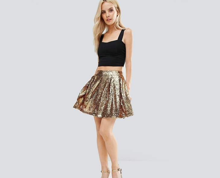 sequin skater short skirt outfit