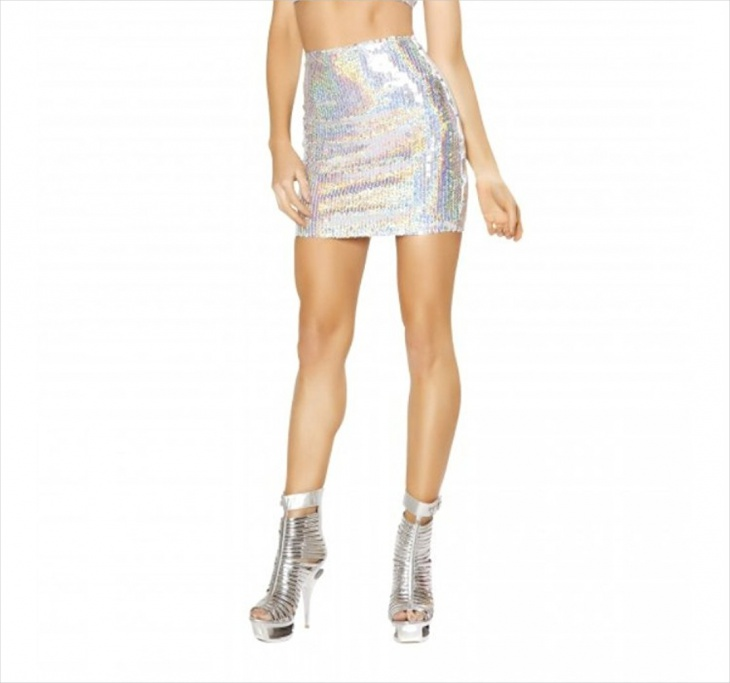 high waisted sequin white skirt