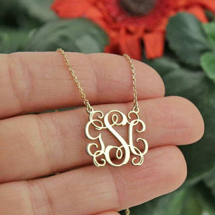 gold monogram long necklace