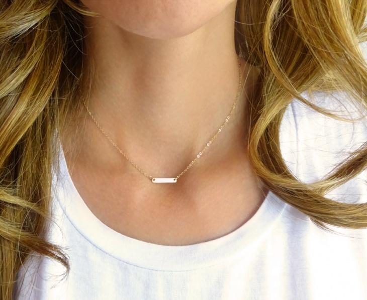 small monogram bar necklace