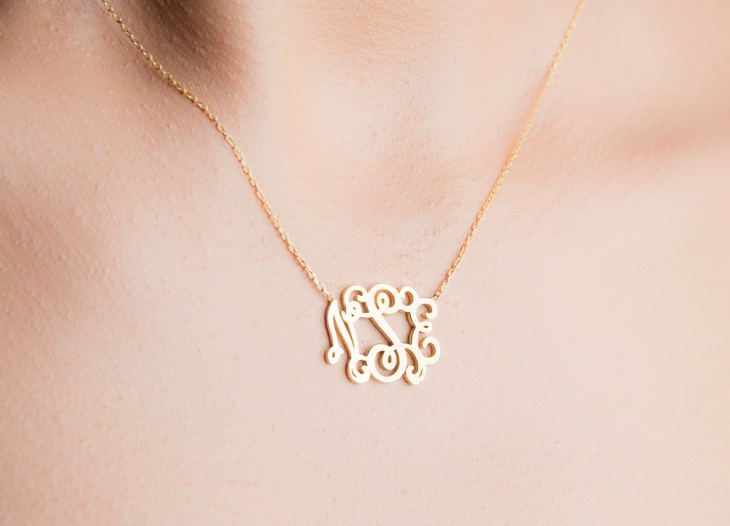 gold small monogram necklace
