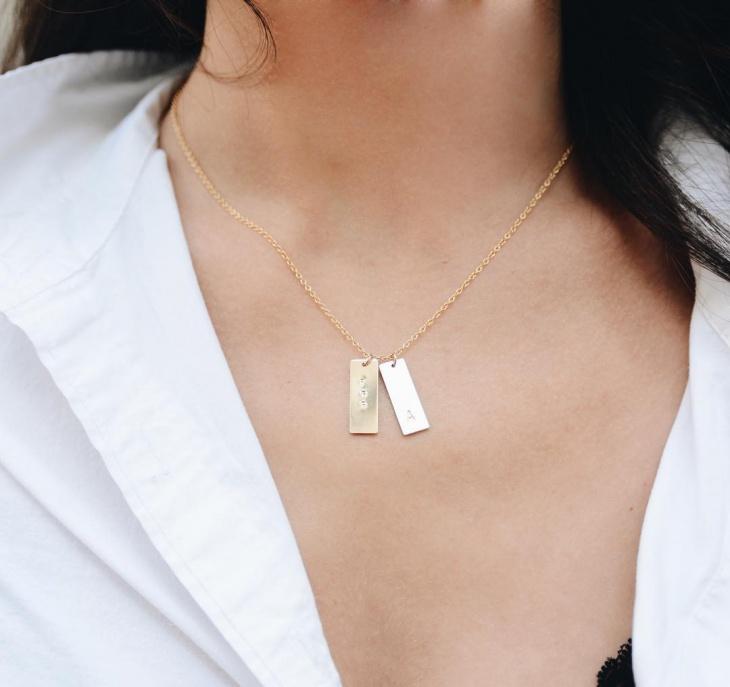 monogram double bar necklace
