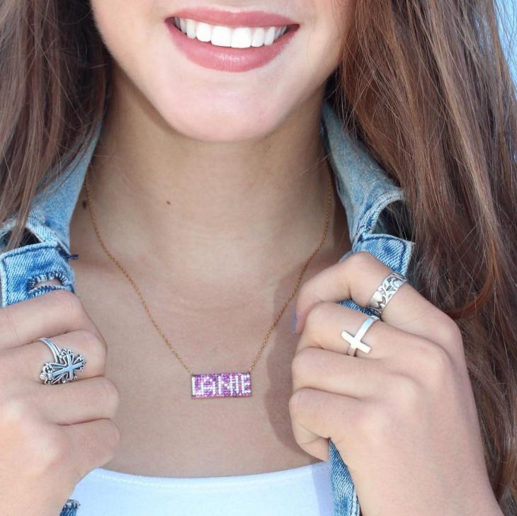monogram bar name necklace