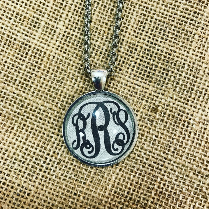 circle monogram glass necklace