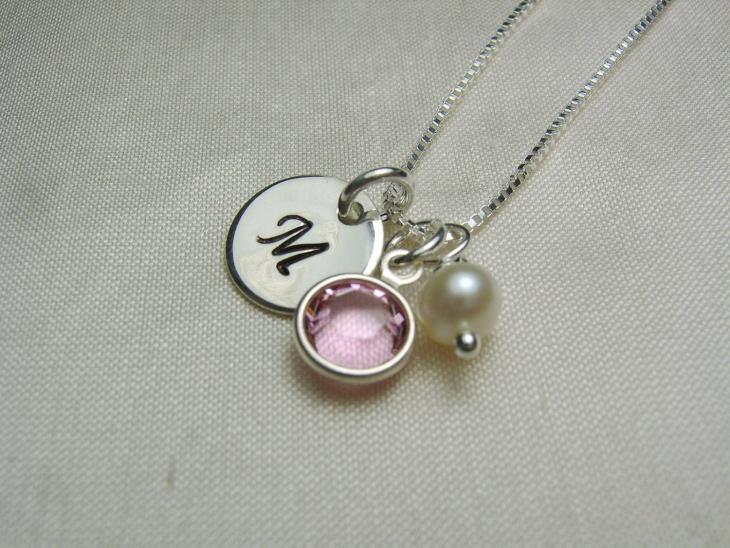pearl monogram pendant necklace
