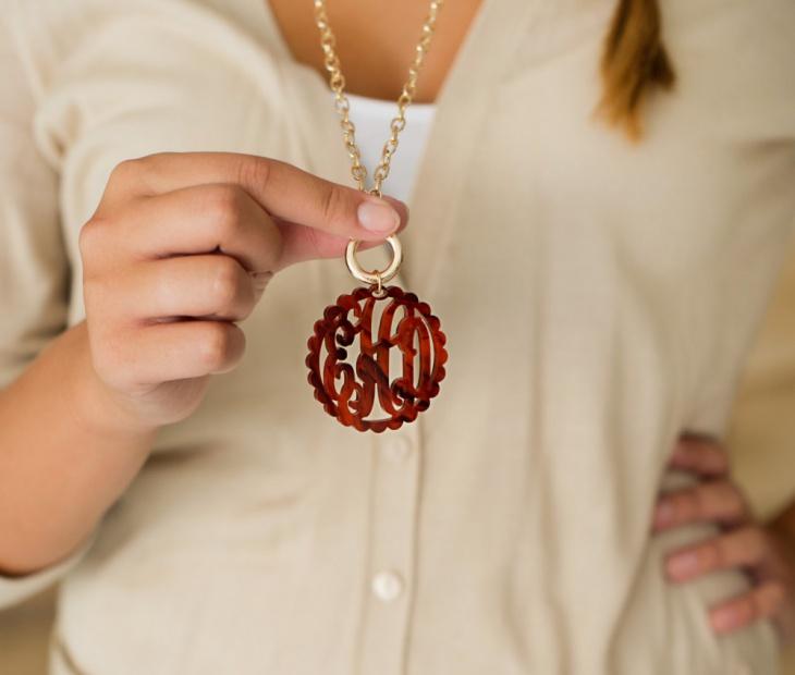 long acrylic monogram necklace