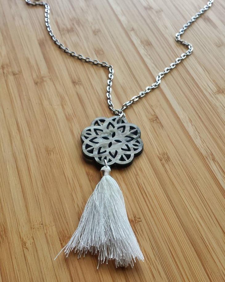 wooden celtic monogram necklace
