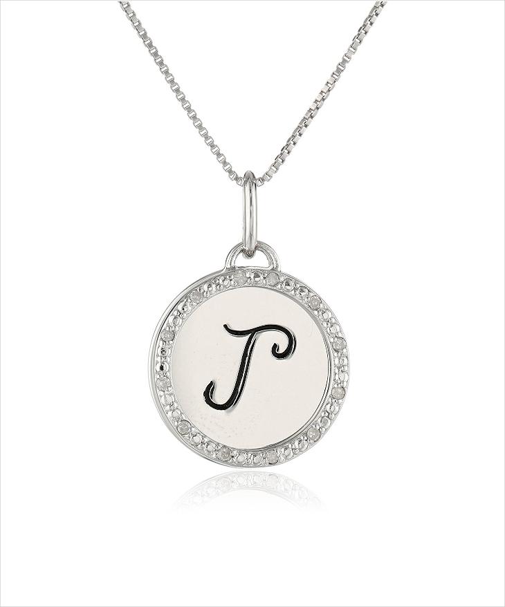 diamond monogram letter necklace