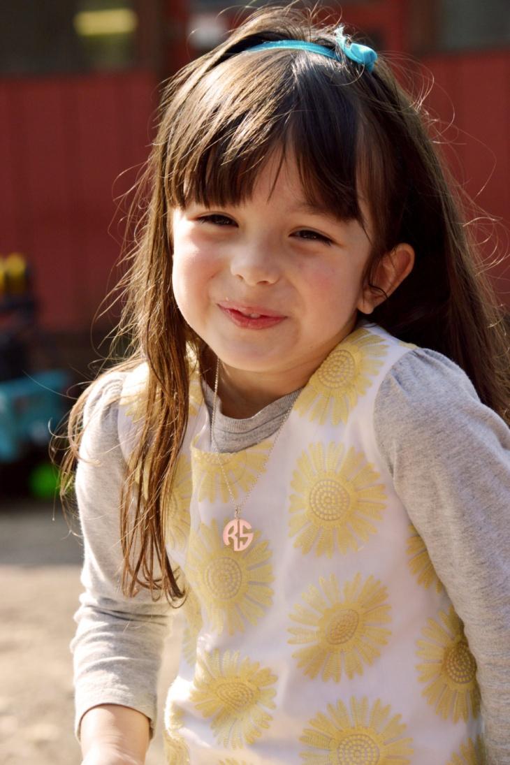 kids monogram rose gold necklace