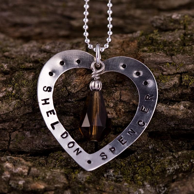 handmade monogram heart necklace