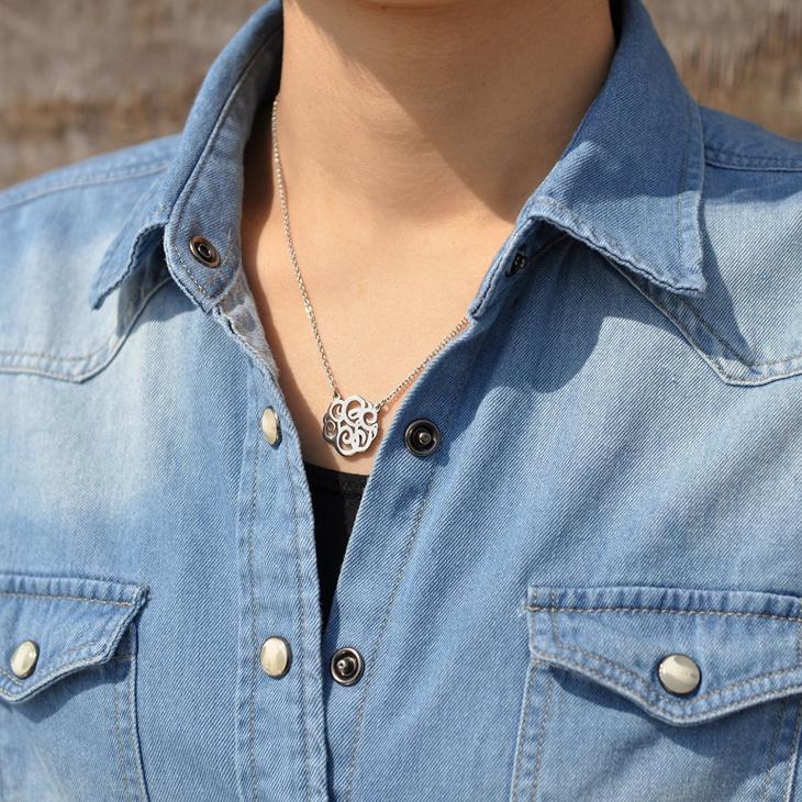 monogram initial steel necklace