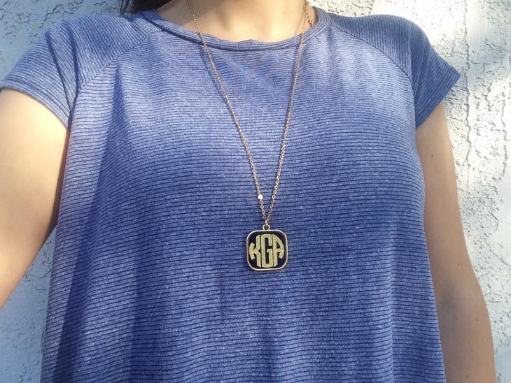 monogram pendant long necklace
